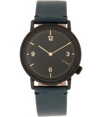 simplify quartz the 5500 black dial, genuine slate leather watch 41mm