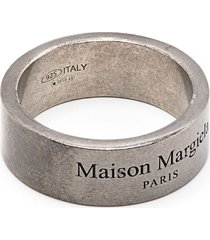 maison margiela distressed-effect logo-engraved ring - grey