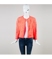 """coral"" pink floral tweed fringe edge jacket"