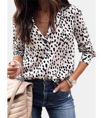 camicetta casual da donna a maniche lunghe con bottoni con stampa leopardata