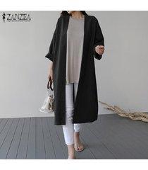 zanzea resorte de las mujeres capa larga cardigan abrigos abrigo holgado flojo caliente -negro