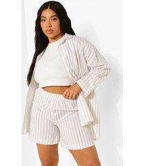 plus oversized gestreept overhemd en shorts set, stone