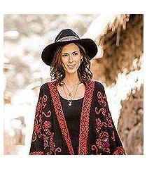 alpaca and wool blend felt hat, 'munay in black' (peru)