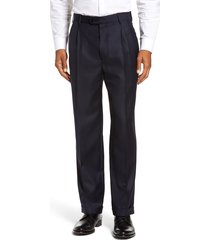 men's zanella bennett straight leg pleated dress pants, size 36 x unhemmed - blue