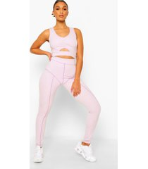 fit premium leggings met contrasterende stiksels, lilac