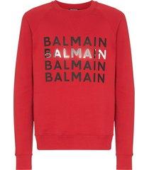 balmain logo print sweatshirt - red