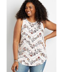 maurices plus size womens 24/7 white floral high neck tank top