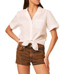 french connection women's tie front rhodes shirt - summer white - size l
