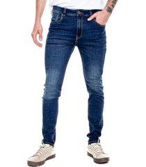 skinny fit jeans tono medio con costuras en contraste color blue