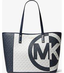 mk borsa tote carter grande bicolore con logo - navy cangiante (blu) - michael kors