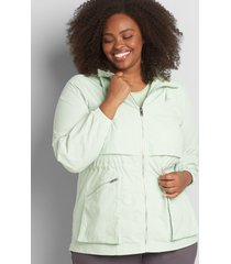 lane bryant women's crinkle cinched-waist jacket with convertible hood 10/12 pastel green