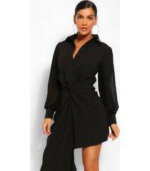 gedrapeerde blouse jurk met geplooide mouwen, zwart