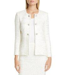 women's st. john evening ribbon couture float knit jacket, size 10 - white