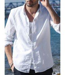 hombres cuello cuadrado pequeño casual loose fit manga larga camisa