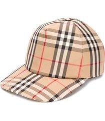 beige check print baseball cap