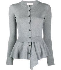 alexander mcqueen flared trim long sleeve cardigan - grey