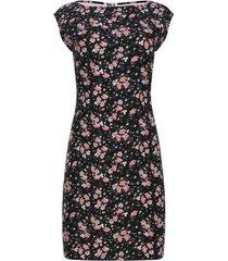vestido estampado floral color negro, talla s