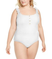full circle trends trendy plus size ruffled-strap bodysuit