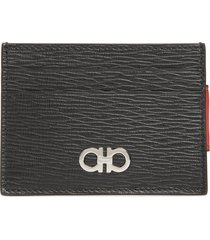 men's salvatore ferragamo revival leather magnetic money clip card case -