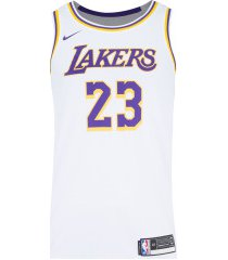 camisa regata nba nike los angeles lakers icon edition swingman - masculina - branco