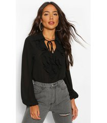 chiffon ruffle collar blouse, black