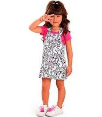 vestido infantil salopete jardineira com blusinha