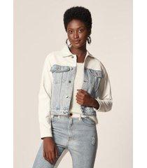 jaqueta jeans com p.u delave mob feminina