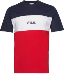 men anoki blocked tee t-shirts short-sleeved röd fila