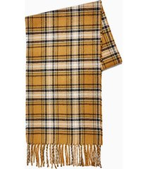 mens brown camel check reversible scarf