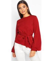 asymmetric balloon sleeve belted blouse, berry