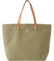 cathy's concepts monogram washed canvas tote - green