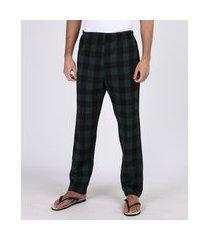 calça de pijama masculina em flanela estampada xadrez com bolso verde escuro