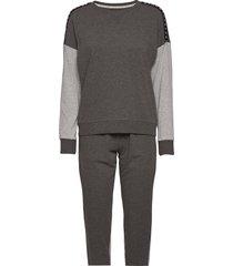 dkny reinven.classic l/s top & jogger pj pyjama grijs dkny homewear