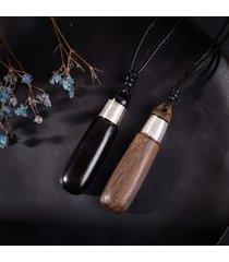 collana di gioielli etnici in legno di sandalo nero collana di gioielli in argento vintage per unisex