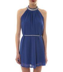 korte jurk vera lucy robe tour de cou col strass bleu 6w1078a