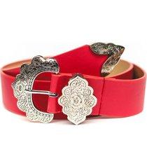 cinturon hebilla flor rojo guinda