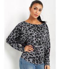 yoins basics leopard one blusa de manga larga con hombros descubiertos