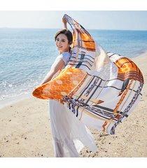 sciarpa a maniche lunghe da viaggio casual con scialle a spiaggia a scialle a spiaggia con stampa tartan