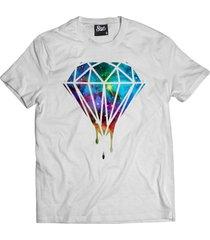 camiseta manga curta skull clothing diamante galax branco