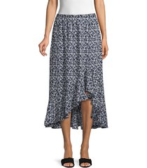 max studio women's ruffle high-low floral midi skirt - red - size xs