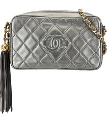 chanel pre-owned tassel quilted crossbody bag - grey