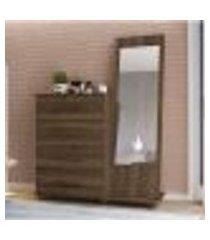 cômoda trento 4 gavetas com espelho vertical - cedro