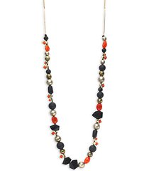 mosaic futurist goldplated pyrite, coral & bead necklace