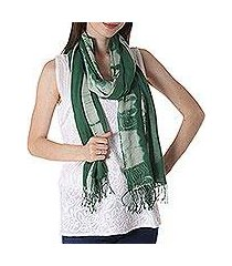 tie-dyed cotton shawl, 'moss green paradise' (india)