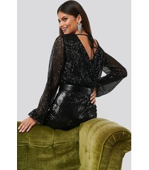 na-kd party sequin balloon sleeve body - black