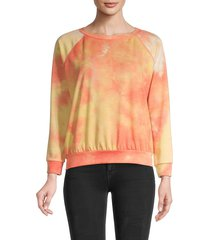 prince peter collection women's tie-dye raglan-sleeve sweatshirt - sherbert - size m