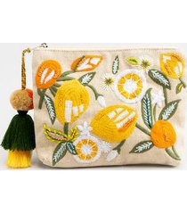 hilda embroidered citrus pouch - natural