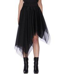 multi-layer asymmetric tulle mesh midi skirt
