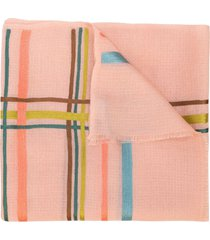 janavi india horizontal stripes cashmere scarf - pink