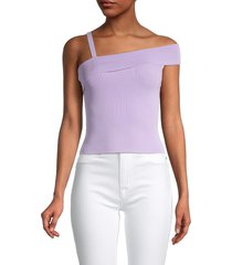 alice + olivia by stacey bendet women's arletta off-the-shoulder top - lavender - size xs